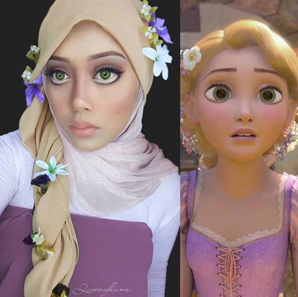 13 Gaya hijab wanita ini unik menyerupai rambut Putri Disney istimewa