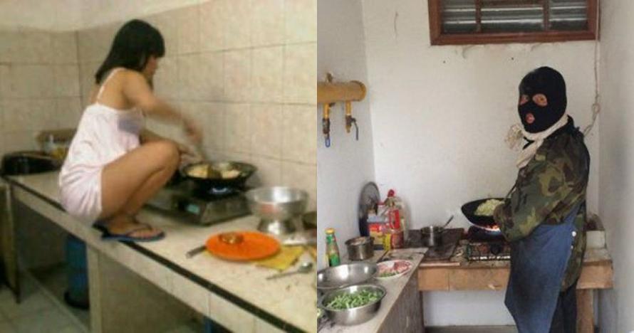15 Kelakuan lucu orang saat masak, bikin geleng kepala