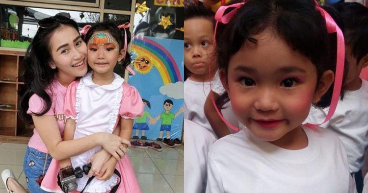 7 Foto wajah putri Ayu Ting Ting dipolesi makeup, bikin gemes