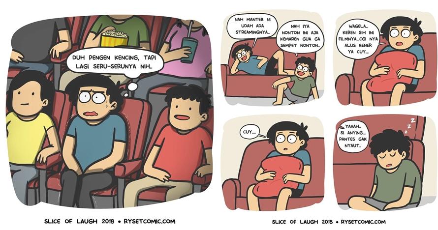 12 Komik strip lucu kebiasaan waktu nonton film ini bikin ketawa
