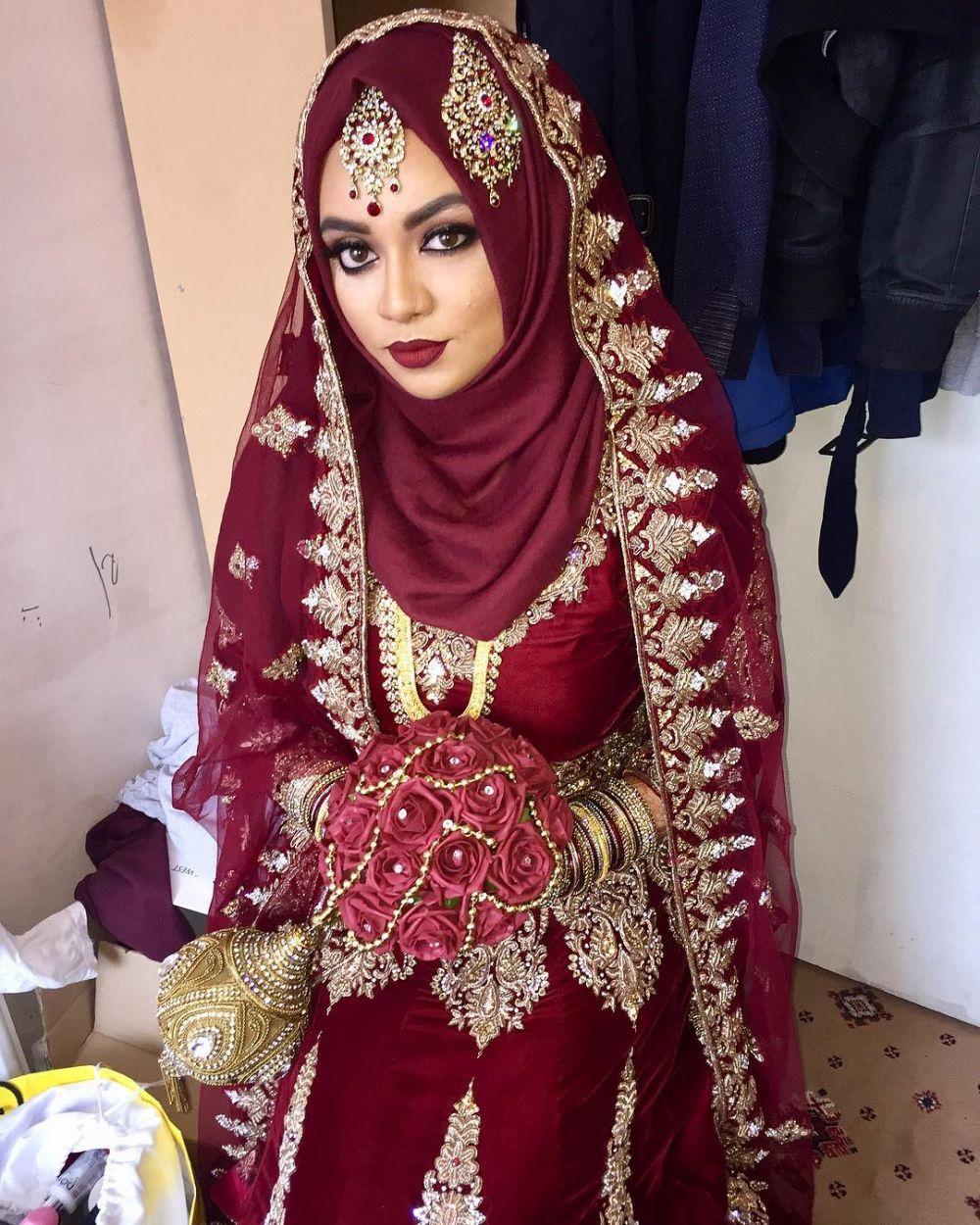 20 inspirasi riasan pengantin ala india untuk wanita berhijab
