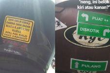 12 Stiker tulisan lucu di helm ojek online ini bikin mood ceria