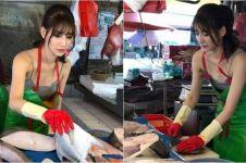 10 Pesona si cantik penjual ikan yang viral, rela antre deh
