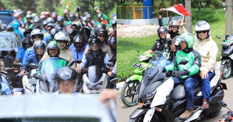 Prabowo naik ojek online, helm dan sepeda motornya jadi sorotan