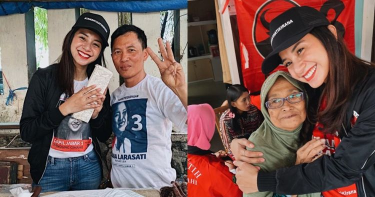 10 Bukti Kirana Larasati tetap stylish saat blusukan kampanye