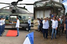Pakai helikopter, ini 10 potret Jokowi tinjau dampak tsunami Banten