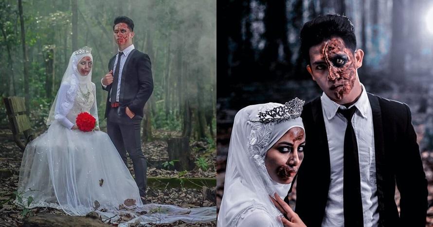 8 Foto pernikahan tema zombie ala pengantin ini bikin merinding