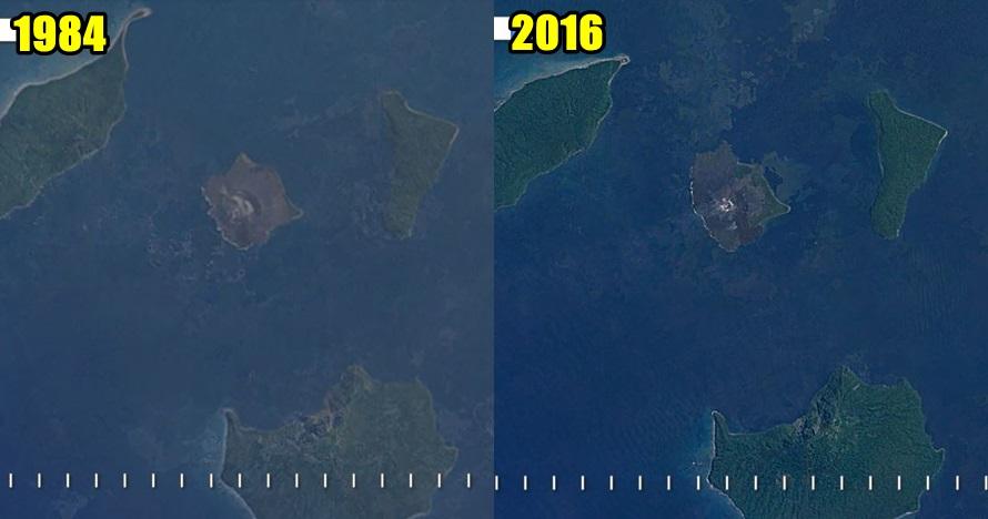 Timelapse gunung Anak Krakatau dari tahun 1984 sampai 2016