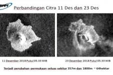 Potret kondisi Gunung Anak Krakatau usai longsor, memicu tsunami