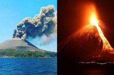 12 Foto lava pijar Gunung Anak Krakatau saat malam hari