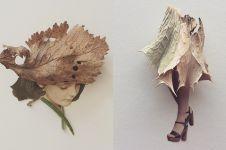 12 Karya sketsa digabungkan dengan daun ini bikin takjub