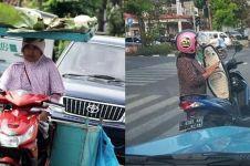 10 Aktivitas nyeleneh emak-emak pas lagi bawa motor, serba bisa