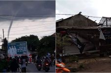 10 Potret ganasnya angin puting beliung Panguragan Cirebon