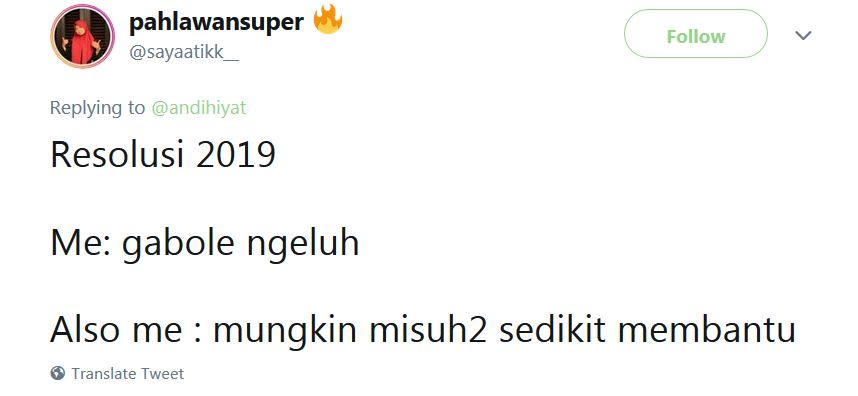 cuitan lucu resolusi 2019 © Twitter