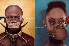 12 Ilustrasi gambarkan derita orang yang dibungkam suaranya