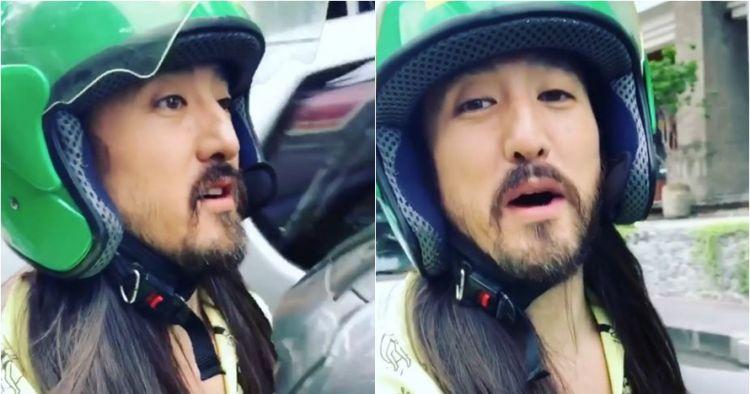 Steve Aoki naik ojek online di Bali, ekspresinya antusias banget