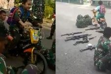 4 Aksi lucu Richo, bocah bersepeda yang tabrak senapan milik TNI