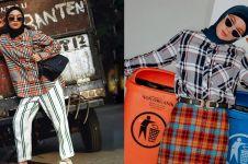 10 Inspirasi fashion tabrak motif Tantri Namirah ini kece banget