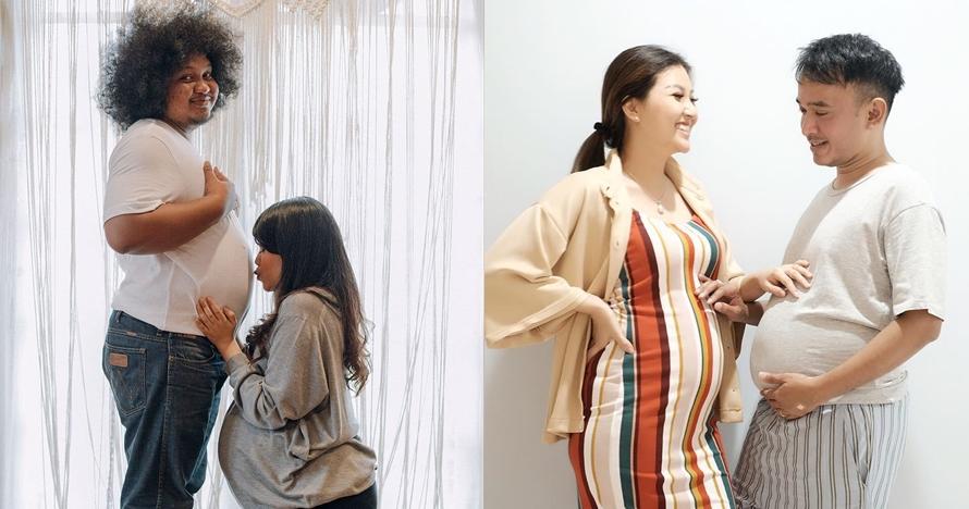 Istri hamil, 6 seleb pria ini nggak mau kalah pamer perut buncit