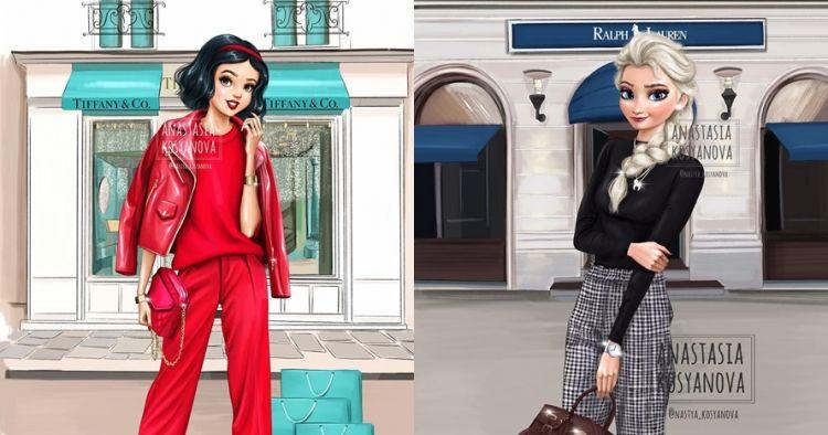 15 Ilustrasi Putri Disney jadi model merek fashion, kece banget