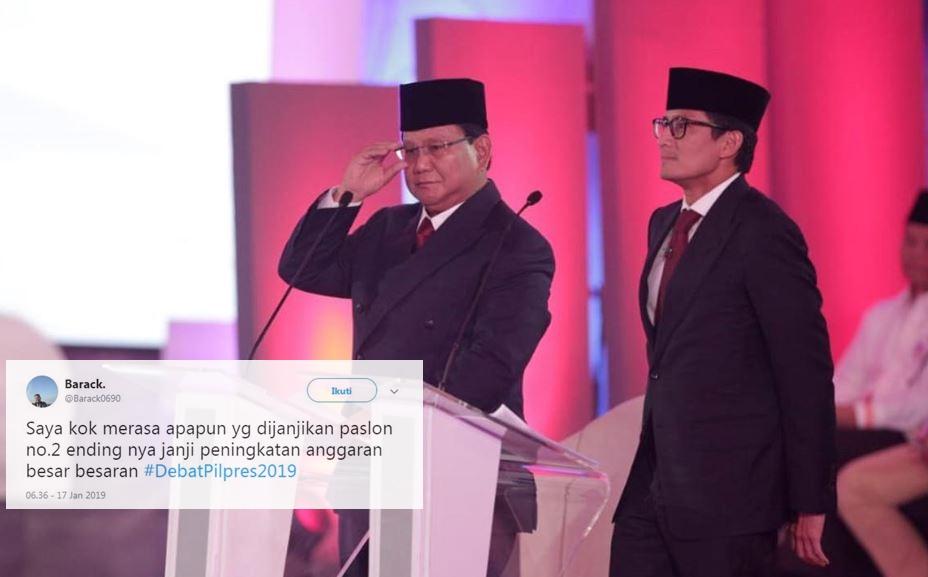11 Cuitan lucu tanggapi pernyataan Prabowo-Sandi di debat capres