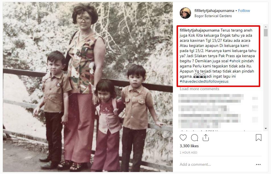 bantahan Ahok nikah © 2019 Instagram
