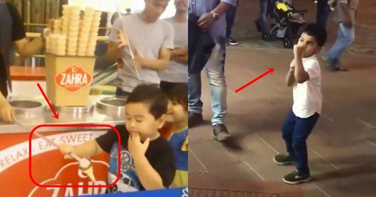 7 Reaksi lucu bocah diusili penjual es krim, mau ketawa tapi kasihan