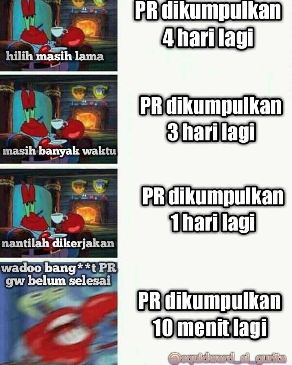 Meme spongebob belajar instagram
