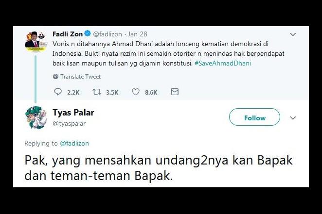 Fadli Zon kecam vonis Ahmad Dhani, 10 serangan balik ini makjleb