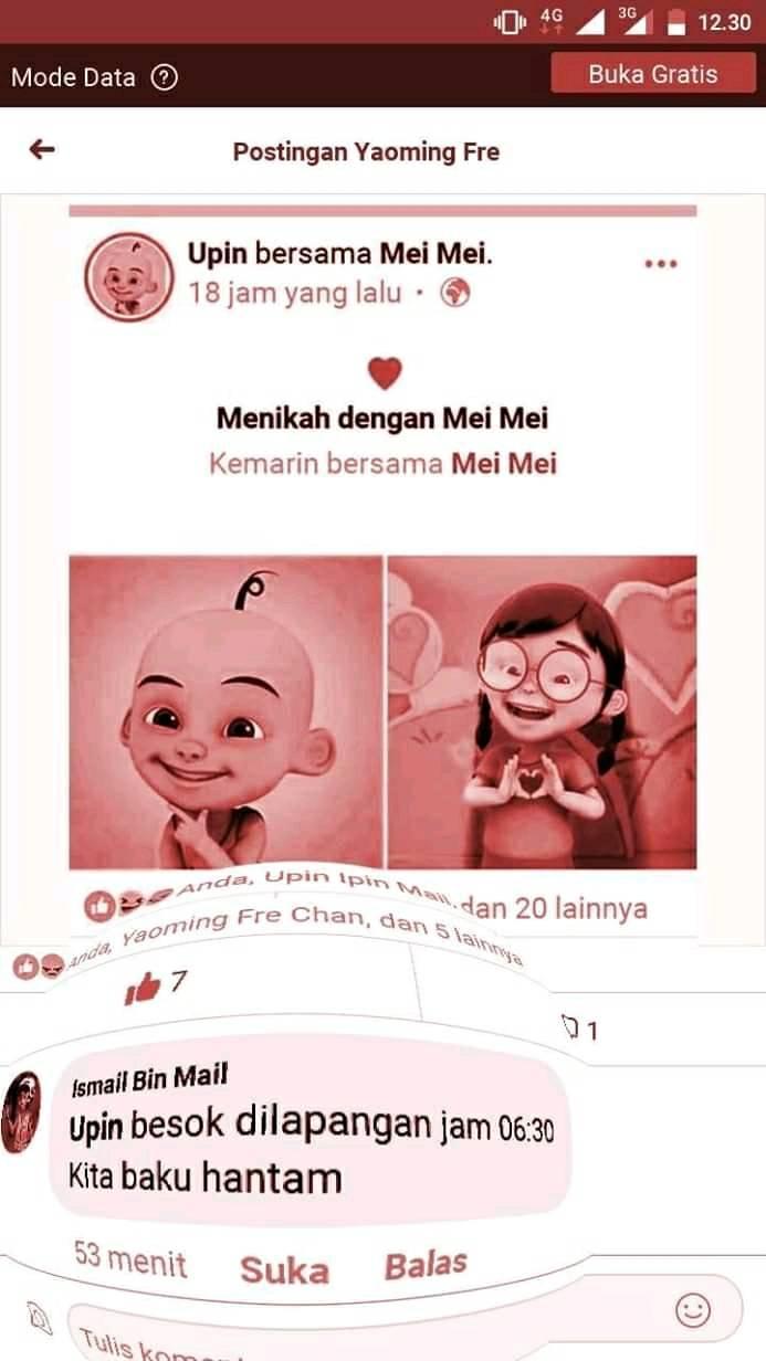 10 Meme lucu cinta segitiga karakter Upin Ipin ini bikin ketawa