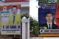 12 Nama caleg di spanduk kampanye ini mengundang senyum