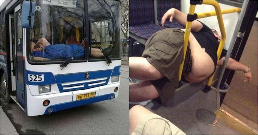12 Tingkah nyeleneh orang tidur di bus ini bikin tepuk jidat