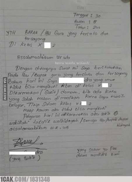 15 Surat Izin Tidak Masuk Telat Ke Sekolah Ini Alasanny