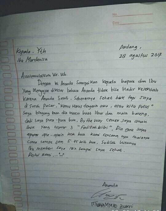 surat izin alasannya kocak © 1cak.com