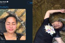 Seleb cantik ini challenge selfie di sungai, guyonan netizen kocak