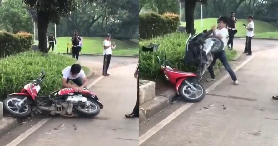 Ditilang karena tak pakai helm, pria ini ngamuk merusak motornya
