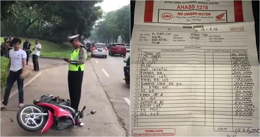17 Editan foto catatan polisi tilang pria yang rusak motor, kocak