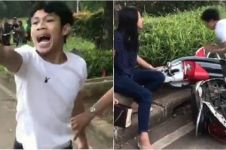 13 Editan video pria rusak motor saat ditilang, konyol banget
