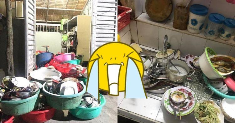 10 Potret peralatan makan kotor menumpuk di dapur, bikin jijik