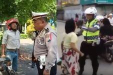 7 Polisi ini sabar hadapi pengendara motor ngamuk, aksinya viral