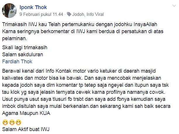 jodoh perang komentar © Facebook/iponk.thok