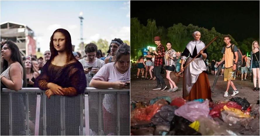 10 Editan foto unik andai sosok di lukisan klasik hadiri konser