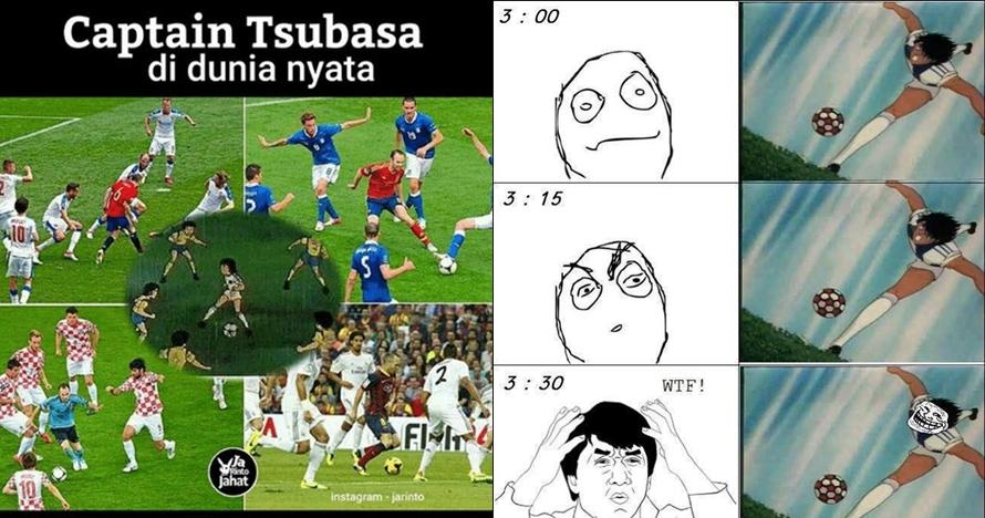 10 Meme lucu tendangan Captain Tsubasa ini bikin nyengir sendiri