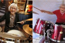 10 Aksi kece Viola Smith, drummer cewek berusia satu abad