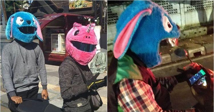 10 Potret unik pengendara dengan sarung helm kekinian, ada unicorn