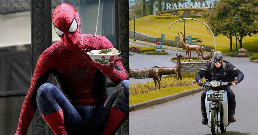 10 Foto editan lucu superhero beraksi di Indonesia, konyol abis