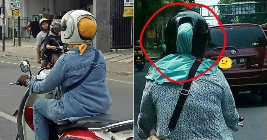 10 Aksi emak-emak pakai helm ini bikin gagal paham