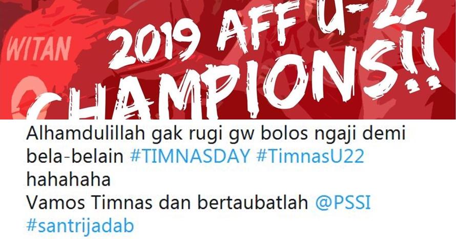 15 Cuitan lucu rayakan Indonesia juara Piala AFF U-22