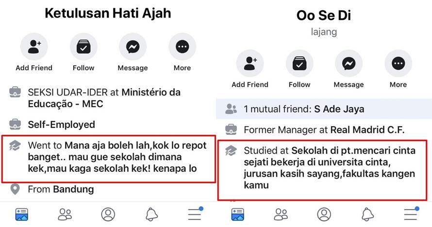 15 Akun Facebook ini nama profesi & sekolahnya absurd abis