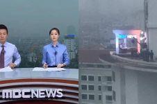 Nggak pakai green screen, stasiun TV ini siaran dari atas gedung